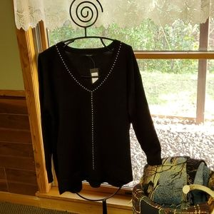 Verve Ami Sz L Black with Silver Beads Sweater